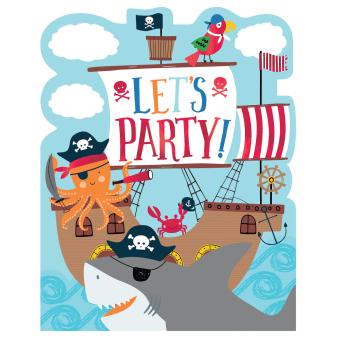 8 Invitations & Envelopes & Stickers Ahoy Birthday Paper 12.3 x 15.6 cm