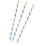12 Drinking Straws Pastel Rainbow Paper 19.5 cm
