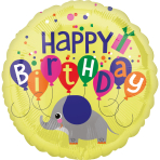 Standard Elephant Birthday Foil Balloon S40 packaged