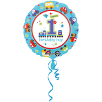 Standard All Aboard Birthday Foil Balloon S40 Packaged 43 cm