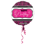 Standard Pink, Black, White Birthday Foil Balloon Round S40 Packaged 43 cm