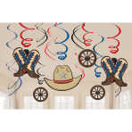 12 Swirl Decorations Western Foil / Paper 61 cm