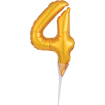 Micro Size Number 4 Gold Foil Balloon A40 Packaged