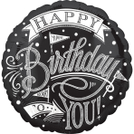 "Standard ""Chalkboard Happy Birthday"" Foil Balloon Round, S40, packed, 43 cm"
