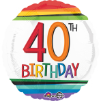 "Standard ""Rainbow Birthday 40"" Foil Balloon Round, S40, packed, 43cm"