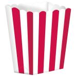 5 Popcorn Boxes Stripes Apple Red Paper 6.3 x 13.4 x 3.8 cm