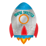 8 Invitations & Envelopes & Stickers Blast Off Paper 10.7 x 15.8 cm