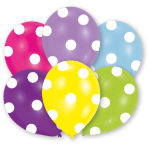 6 Latex Balloons All Round Printed Polka 27.5 cm / 11""