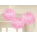 3 Fluffy Decorations Wedding Decorations Pink Tulle 30.4 cm