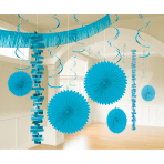 Decoration Kit Caribbean Blue Paper / Foil 18 Parts 274 cm / 213 cm / 20.3 - 55.8 cm
