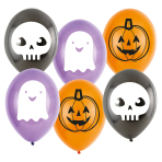 "6 Latex Balloons 1c 2s 9"" Hallo-ween Friends"