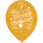 8 Latex Balloons Happy Birthday 2 Sided Print 25.4 cm/10''