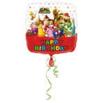 Standard Mario Bros Happy Birthday Foil Balloon Square S60 Packaged 43 cm