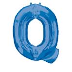 SuperShape Letter Q Blue Foil Balloon L34 Packaged 60cm x 81cm