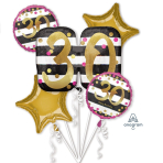 "Bouquet ""Pink & Gold Milestone 30"" Foil Balloon, P75, packed"