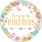 8 Plates Boho Birthday Girl Paper Round Metallic 17.7 cm