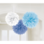 3 Fluffy Decorations Light Blue / Dark Blue / White Paper 40.6 cm