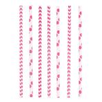 24 Drinking Straws Dots & Chevron Bright Pink Paper 19.7 cm