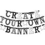 Letter Banner Birthday Accessories - Black & White Personalizable Paper 84 Pieces 11 cm