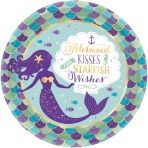 8 Plates Mermaid Wishes Paper Round Metallic 22.8 cm
