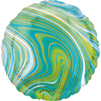 Standard Marblez Blue Green Circle Foil Balloon S18 Packaged