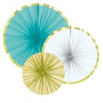 3 Fan Decorations Pineapple Vibes Paper 16 cm / 28 cm / 35 c