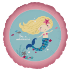 "Standard ""Be a Mermaid"" Foil Balloon Round, S40, packed, 43 cm"