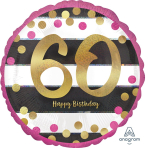 """Standard Pink & Gold Milestone 60"""" Foil Balloon Round Holographic, S55, packed, 43cm"""
