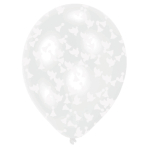 6 Latex Balloons Clear Wedding Confetti Filled Paper Bells & Doves Paper 27,5 cm / 11""