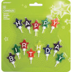 13 Mini Character Candles Happy Birthday Stars Height 4.1 cm