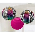 3 Round Paper Lanterns Totally80's 24 cm