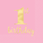 16 Napkins 1st Birthday Pink and Gold Hot Stamped 33cm