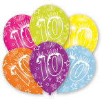 6 Latex Balloons All Round Printed Age 10 27.5 cm/11''