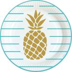 8 Plates Pineapple Vibes Paper Round 22.8 cm