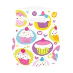 6 Party Bags Cupcake Plastic 23.4 x 16.3 cm