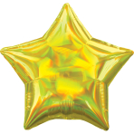 Standard Holographic Iridescent Yellow Star Foil Balloon S55 Packaged