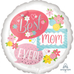 """Standard """"Best Mom Ever Bubbles"""" Foil Balloon Round, S40, packed, 43cm"""