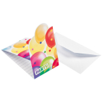 8 Invitations & Envelopes Balloons Paper 8 x 14.2 cm