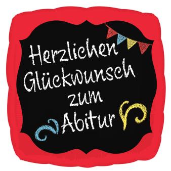 """Standard """"Herzlichen Glückwunsch zum Abitur"""" Foil Balloon Square,  S40, packed, 43 cm"""