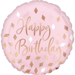Standard Blush Birthday Foil Balloon S40 Packaged