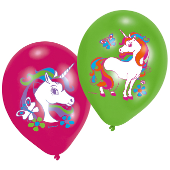 "6 Latex Balloons Unicorn 27.5 cm / 11"""
