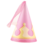 4 Party Cone Hats My Princess Paper / Fabric Height 16.1 cm