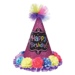 Party Cone Hat Birthday Chic Paper / Fabric Height 22.8 cm