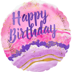 Standard Birthday Watercolor Marble Foil Balloon S40 package