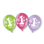 6 Latex Balloons Sweet Birthday Girl All Over Print 27.5 cm/11''