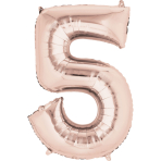 """SuperShape """"5 - Rose  Gold"""" Foil Balloon, P50, packed, 58 x 86cm"""