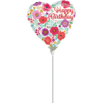 "9'' ""Happy Birthday Floral Print"" Foil Balloon Heart, A15, airfilled, 23cm"