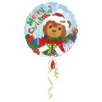 "Standard""Christmas Bear"" Foil Balloon round, S40, packed, 43 cm"