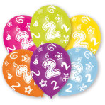 6 Latex Balloons All Round Printed Age 2 27.5 cm/11''