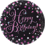 8 Plates Happy Birthday Sparkling Celebrations pink prismatic round paper 23 cm